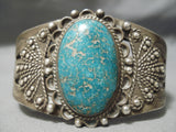 Important Early Vintage Native American Navajo Lone Mountain Turquoise Sterling Silver Bracelet