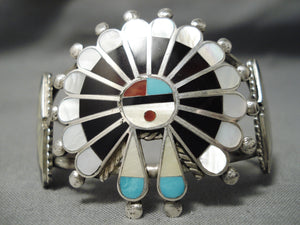 Incredible Vintage Zuni Native American Navajo Turquoise Sterling Silver Inlay Bracelet Old