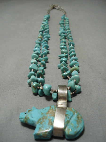 Opulent Vintage Native American Navajo #8 Turquoise Sterling Silver Bear Fetish Necklace Old
