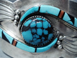 One Of The Best Vintage Native American Navajo Turquoise Inlay Sterling Silver Bracelet