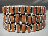 Amazing Wrap Around Coral Sterling Silver Native American Navajo Bracelet Cuff