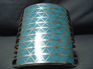 One Of The Tallest Zuni Turquoise Native American Sterling Silver Bracelet