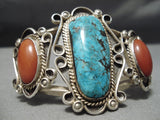 Museum Quality Vintage Native American Navajo Turquoise Coral Sterling Silver Bracelet