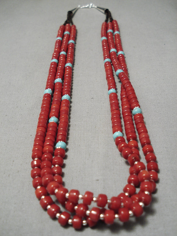 Stunning Native American Navajo Disc Coral Sterling Silver Heishi Necklace