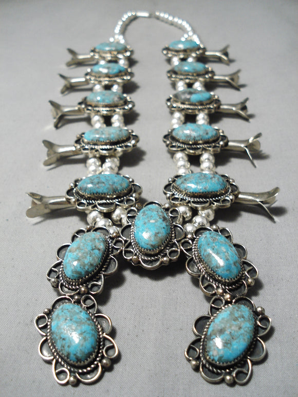 Important Vintage Native American Navajo #8 Turquoise Sports Illustrated Squash Blossom Necklace