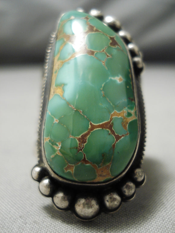 Important Vintage Native American Navajo Damale Turquoise Sterling Silver Ring Old