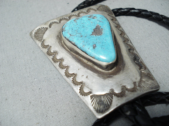 Huge Vintage Native American Navajo Pilot Mountain Turquoise Sterling Silver Bolo Old
