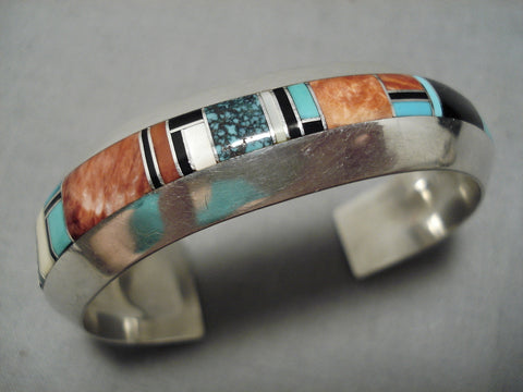 Thick And Sturdy Vintage Native American Navajo Turquoise Sterling Silver Inlay Bracelet