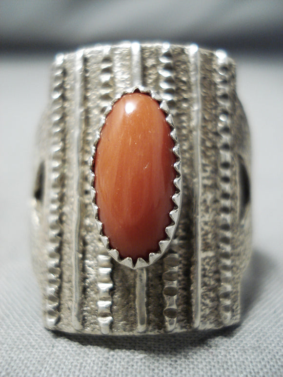Awesome Navajo Native American Coral Sterling Silver Huge Ring