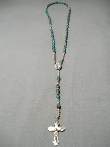 Rare Native American Navajo Royston Turquoise Sterling Silver Rosary Necklace