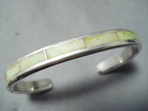 Exquisite Zuni Gaspeite Sterling Silver Bracelet Native American