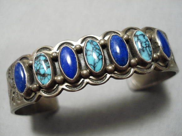 Quality Vintage Native American Navajo Spiderweb Turquoise Sterling Silver Lapis Bracelet