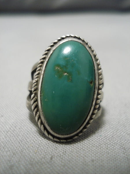 Earlier 1900's Vintage Native American Navajo Cerrillos Turquoise Sterling Silver Ring Old