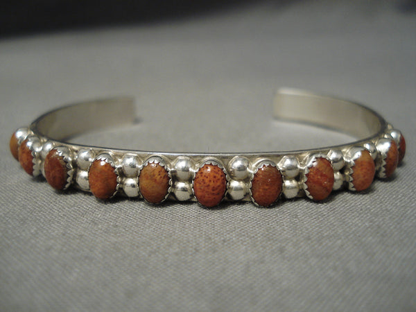 Striking Vintage Native American Navajo Spiny Oyster Land Benally Sterling Silver Bracelet