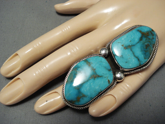 One Of The Biggest Heavu Native American Navajo Turquoise Sterling Silver Ring