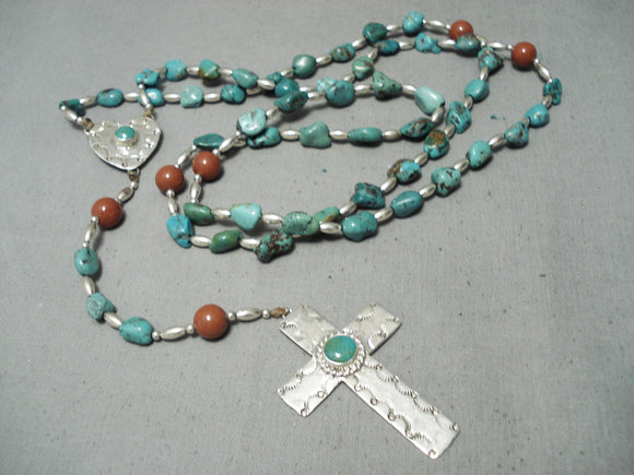 One Of The Best Vintage Native American Navajo Turquoise Sterling Silver Rosary Necklace