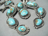 High Grade Turquoise Vintage Native American Navajo Sterling Silver Squash Blossom Necklace