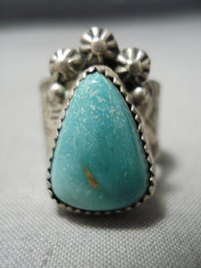 Quality!! Vintage Native American Navajo Carico Lake Turquoise Sterling Silver Ring Old