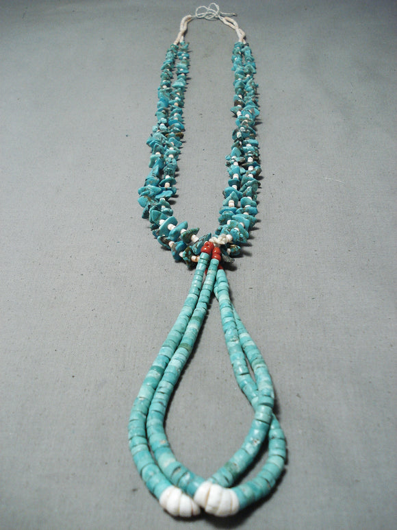 Extraordinary Vintage Native American Navajo Royston & Kingman Turquoise Necklace Old
