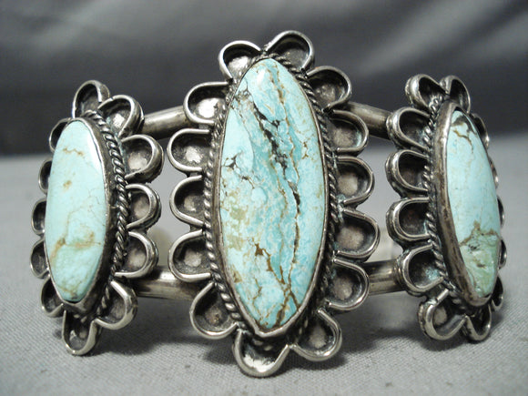 Ultra Rare Vintage Native American Navajo Blue Diamond Turquoise Sterling Silver Bracelet Old