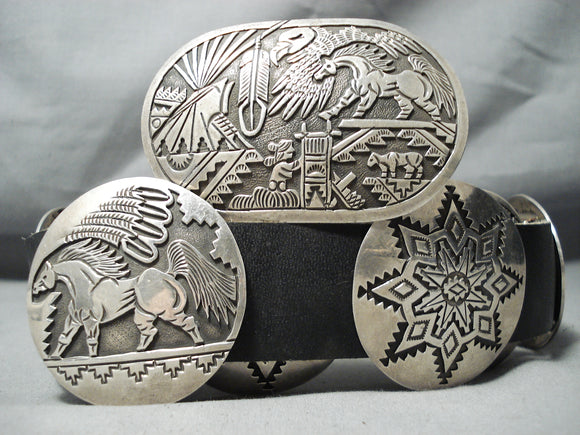 Extreme Intricacy Vintage Native American Navajo Sterling Silver 'Outswde Hallmark' Concho Belt
