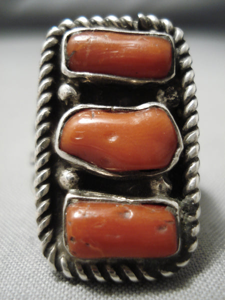 Huge Vintage Native American Navajo Chunky Dunky Coral Sterling Silver Ring Old