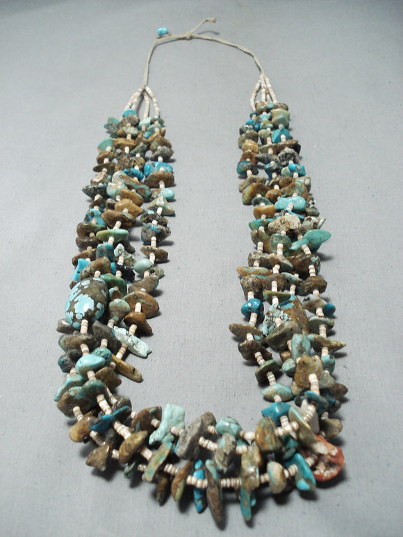 Phenomenal Vintage Native American Navajo Kingman Turquoise Coral Necklace