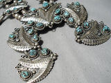 Best Vintage Native American Navajo Leaf Sterling Silver Turquoise Squash Blossom Necklace Set