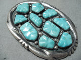 Native American Hand Carved Leaf Turquoise Vintage Zuni Sterling Silver Buckle Old