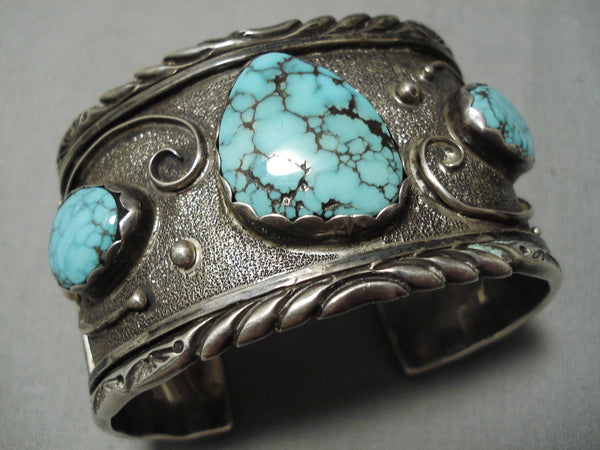 Very Rare Blue Thunder Turquoise!! Vintage Native American Navajo Sterling Silver Bracelet