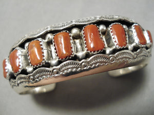 Superior Native American Navajo Chunky Red Coral Sterling Silver Sun Bracelet Cuff