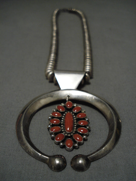 Quality Ernest Roy Begay Vintage Native American Navajo Coral Sterling Silver Necklace Old