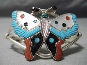 Cute Tammy Pinto Zuni Native American Turquoise Coral Sterling Silver Bracelet