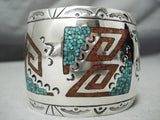 Giant Heavy Vintage Native American Navajo Turquoise Coral Sterling Silver Bracelet Old