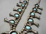 Heavy Authentic Vintage Native American Navajo Turquoise Sterling Silver Squash Blossom Necklace