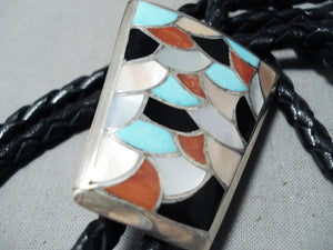 Incredible Vintage Native American Zuni Turquoise Coral Jet Sterling Silver Bolo Tie Old