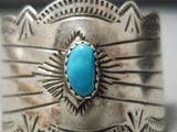Amazing Vintage Native American Navajo Hand Carved Sterling Silver Turquoise Hair Barrette Clip