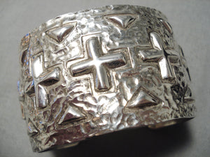 Cross Christian Native American Navajo Sterling Silver Willie Hand Repoussed Bracelet