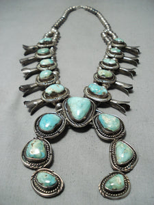 Heavy Vintage Native American Navajo Green Turquoise Sterling Silver Squash Blossom Necklace