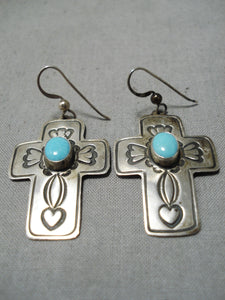 Native American Exceptional Vintage Sleeping Beauty Turquoise Sterling Silver Cross Earrings