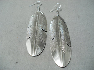 One Of The Longest Native American Navajo Sterling Silver Feather Earrings