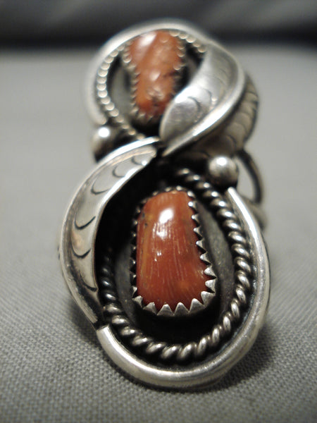 Superior Vintage Navajo Coral Sterling Silver Native American Ring Old