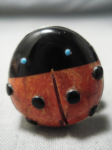 Gorgeous Ladybug Vintage Native American Navajo Turquoise Coral Sterling Silver Ring