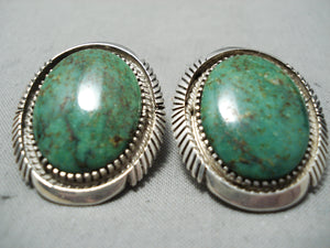 Gorgeous Vintage Native American Navajo Royston Turquoise Sterling Silver Earrings