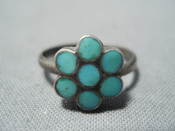 Beautiful Vintage Native American Zuni Blue Gem Turquoise Sterling Silver Ring Old