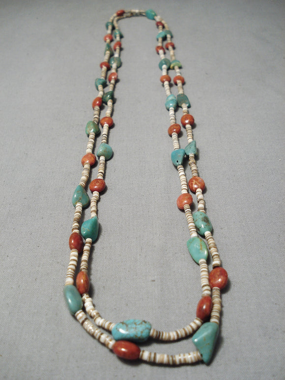 Native American Marvelous Santo Domingo Royston Turquoise Coral Sterling Silver Necklace
