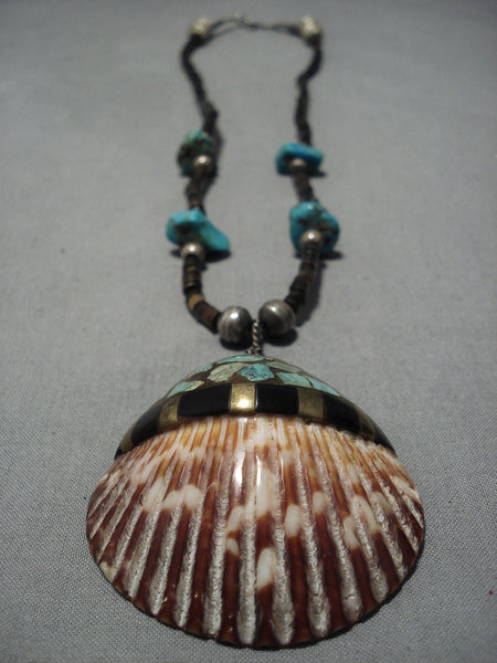 Native American Magnificent Vintage Santo Domingo Sterling Silver Turquoise Necklace Old