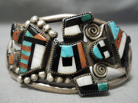 Opulent Early Vintage Native American Zuni Turquoise Coral Sterling Silver Bracelet Old