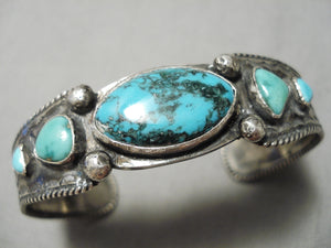 Early 1900's Vintage Native American Navajo Serrated Ingot Silver Turquoise Bracelet Old