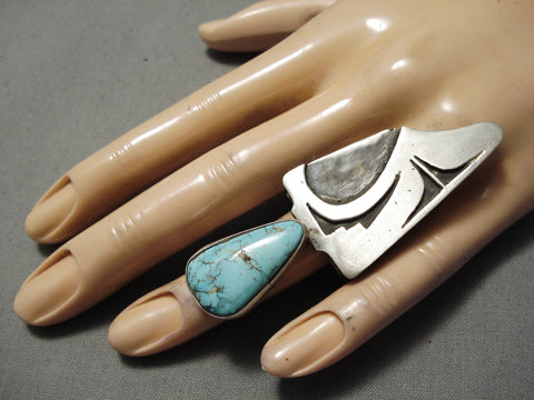 Huge Maiden Native American Turquoise Sterling Silver Ring